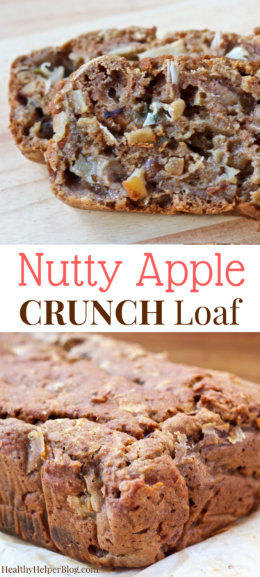 Nutty Apple Crunch Loaf | Healthy Helper @Healthy_Helper Nutty Apple Crunch Loaf | Healthy Helper @Healthy_Helper Nutty, apple-filled, and delicious! This gluten-free, vegan loaf is awesome for munching as snack time or serving at breakfast. Refined sugar free and made with wholesome, all natural ingredients.