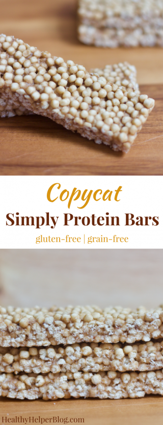Copycat Simply Protein Bars | Healthy Helper @Healthy_Helper Soft n' chewy snack bars filled with muscle building protein and no added sugar. These Copycat Simply Protein Bars are reminiscent of their namesake but with a unique texture and taste all their own. Gluten-free, grain-free, and low-carb.