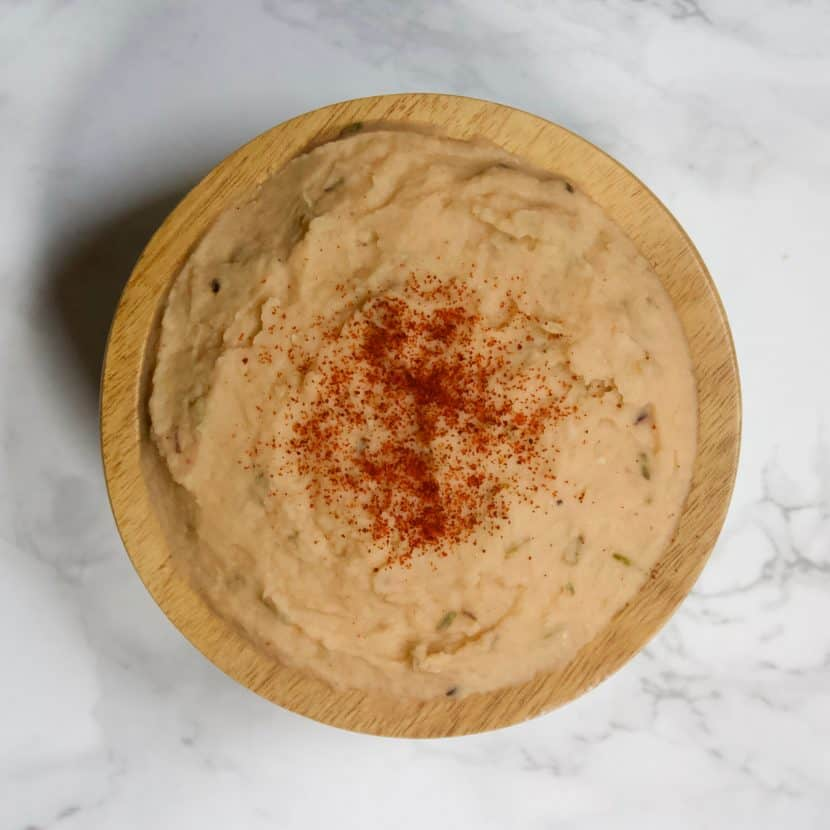 Smokey White Bean Puree | Healthy Helper Creamy and smooth bean puree perfectly seasoned with herbs and finished with a delicious smokey flavor! With the same texture as mashed potatoes, this dish will be a welcome addition to your table with less carbs and fat, more protein, and a much better nutritional profile. Vegan and gluten-free too!