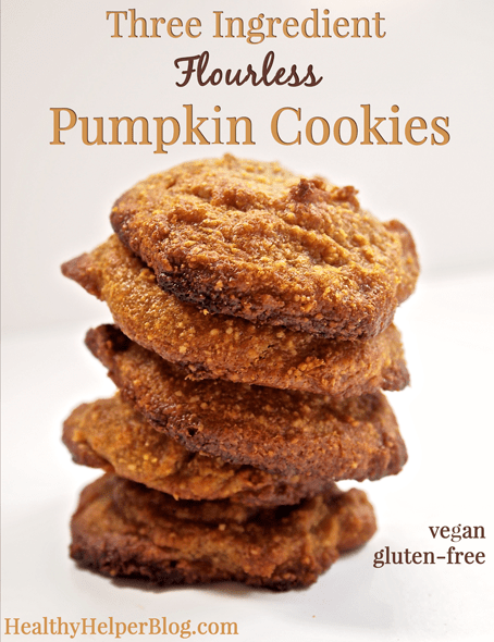 Three Ingredient Flourless Pumpkin Cookies #vegan #glutenfree