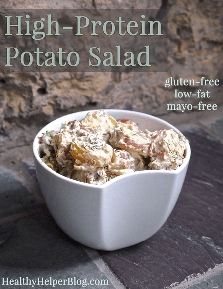 High-Protein Potato Salad via HealthyHelperBlog.com #glutenfree #lowfat #recipe #sidedish #healthy #potatoes #highprotein #mayofree #oilfree #cleaneating