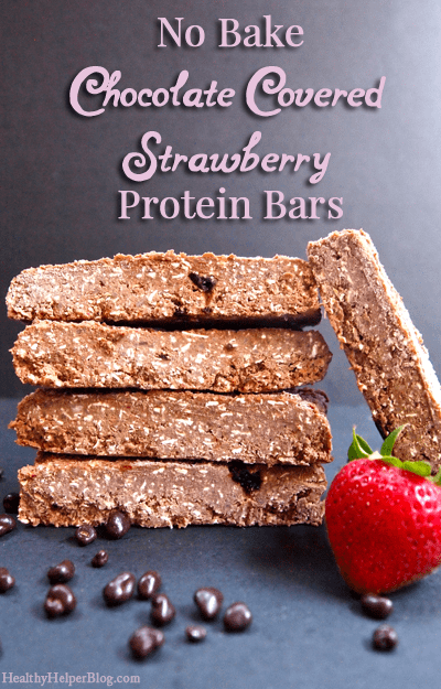 No Bake Chocolate Covered Strawberry Protein Bars via Healthy Helper Blog [gluten-free, sugar-free, healthy, snack, chocolate, easy to make, recipe, healthy food, healthy snacks, high protein]