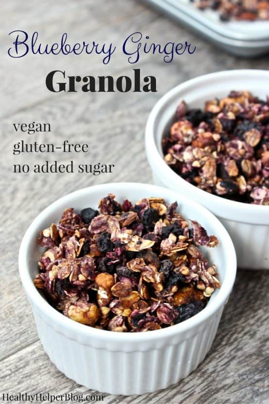 Blueberry Ginger Granola from @Healthy_Helper...sweet, fruit filled granola with a nice gingery zing to it! Vegan, gluten-free, and no added sugar. The perfect healthy breakfast or snack option! https://healthyhelperblog.com?utm_source=utm_source%3DPinterest&utm_medium=utm_medium%3Dsocialmedia&utm_campaign=utm_campaign%3Dblogpost