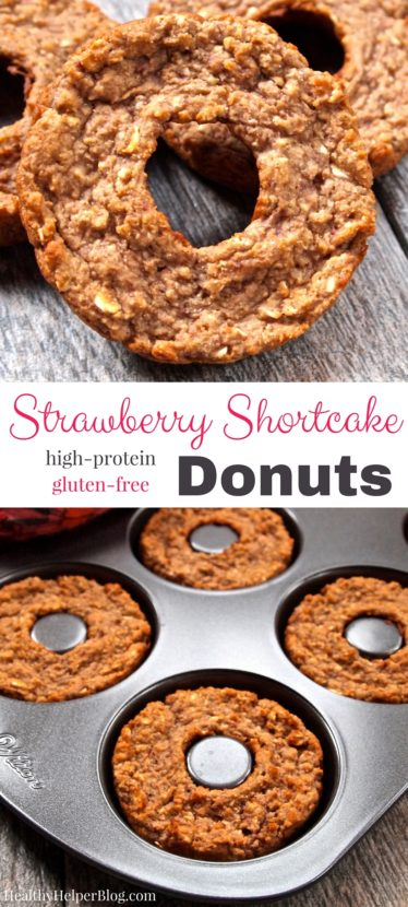 Strawberry Shortcake Donuts from @Healthy_Helper...sweet donut treats that are gluten-free and high protein! These PRO-nuts are perfect for a healthy post workout snack or a light dessert when you're craving the flavors of of your favorite summer dessert. They taste just like freshly made Strawberry Shortcake! https://healthyhelperblog.com?utm_source=utm_source%3DPinterest&utm_medium=utm_medium%3Dsocialmedia&utm_campaign=utm_campaign%3Dblogpost