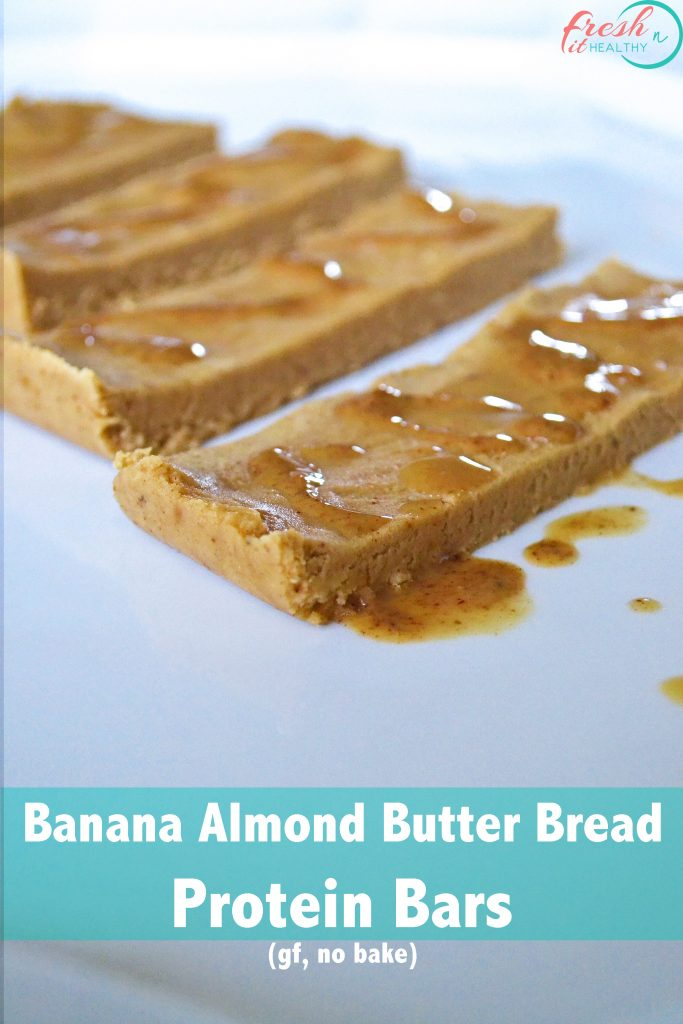 No Bake Banana Almond Butter Bread from Healthy Helper...Banana Bread. Almond Butter. All in one delicious, no bake, and easy to make protein bar. Any takers?
