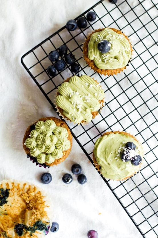 Matcha Frosted Blueberry Cupcakes