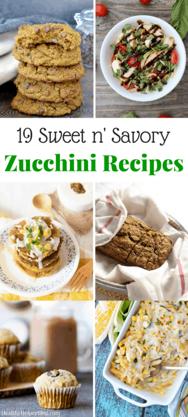 19 Sweet n' Savory Zucchini Recipes | @Healthy_Helper A roundup of the best zucchini-filled recipes to celebrate National Zucchini Day! Zucchini is full of fiber, low in calories, and can be used in any type of dish or baked good. You'll love learning about all its potential!