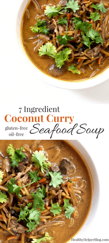 7-Ingredient Coconut Curry Seafood Soup | Healthy Helper @Healthy_Helper This delicious, exotically flavored recipe combines all that you love about soup with the unique taste of curry. Inspired by travels in Southeast Asia, 7-Ingredient Coconut Curry Seafood Soup is easy-to-make and gluten-free. Packed with veggies, lean protein, and bold flavors of ginger, curry, and coconut, too!