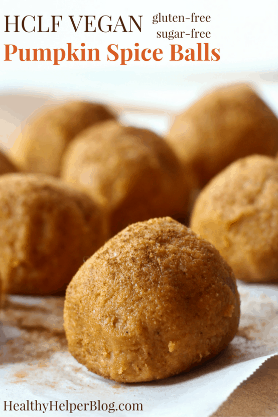 HCLF Vegan Pumpkin Spice Balls | Healthy Helper @Healthy_Helper Soft, delicious bites packed with the flavor of pumpkin pie! These festive balls are perfect for celebrating fall and enjoying sweet treat that's good for you too. These balls are vegan, gluten and grain-free, high in plant-based protein, and full of fiber!