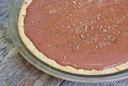 Low-Fat Vegan Chocolate Pudding Pie | Your pie dreams have come true with this healthy Chocolate Pudding Pie recipe! Creamy, delicious chocolate pudding finds a home within a gluten-free, vegan, naturally-sweetened crust. The heavenly mix of textures and rich taste will have you smiling all the way through your slice (or two!)!