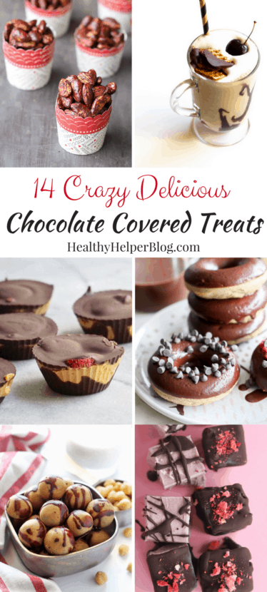 14 Crazy Delicious Chocolate Covered Treats | Healthy Helper @Healthy_Helper The ultimate roundup of chocolate covered treats and eats. From nuts and dried fruit to truffles and pretzels, you're sure to find a chocolate-coated delight that suits your fancy! Some healthy, some indulgent, ALL DELICIOUS!