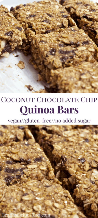 Coconut Chocolate Chip Quinoa Bars | Healthy Helper @Healthy_Helper Perfect for starting your day with a or snacking on-the-go these nutty, chocolate-filled bars are light, fluffy, and delicious! Vegan, gluten-free, and super simple to make too. You'll love the wholesome ingredients and natural sweeteners used.