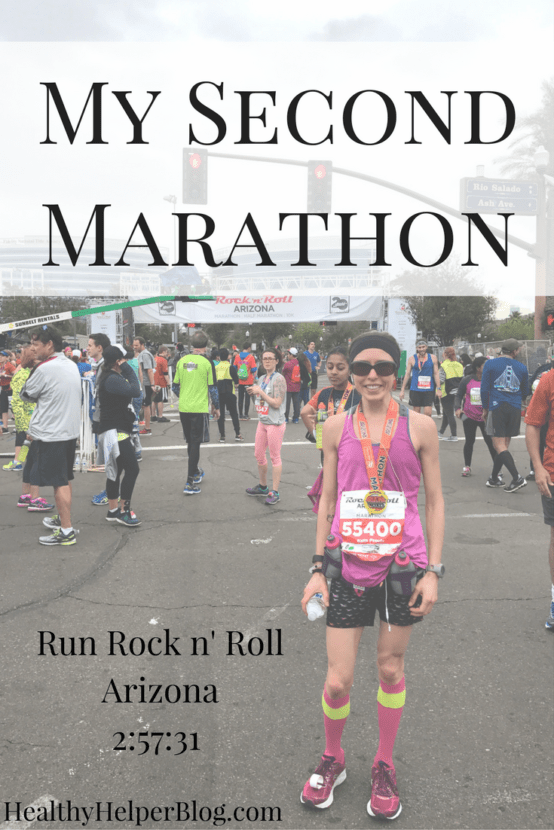 Run Rock n' Roll Phoenix-2:57:31 [My Second Marathon] | Healthy Helper @Healthy_Helper A recap of my second ever marathon. I broke 3 hours, finished uninjured, and was happier than I've ever been in a day. Read about my training, nutrition, and pre/post race thoughts and feelings!