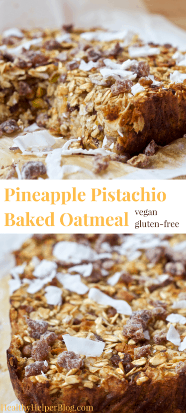 Pineapple Pistachio Baked Oatmeal with Dates & Coconut | Healthy Helper @Healthy_Helper A tropical oasis for your taste buds! This healthy, sweet baked oatmeal recipe will make you feel like you're in the tropics even on the coldest of winter days. Vegan, gluten-free, and no added sugar, this delicious fiber-rich recipe is perfect for quick, delicious morning meals all week-long.
