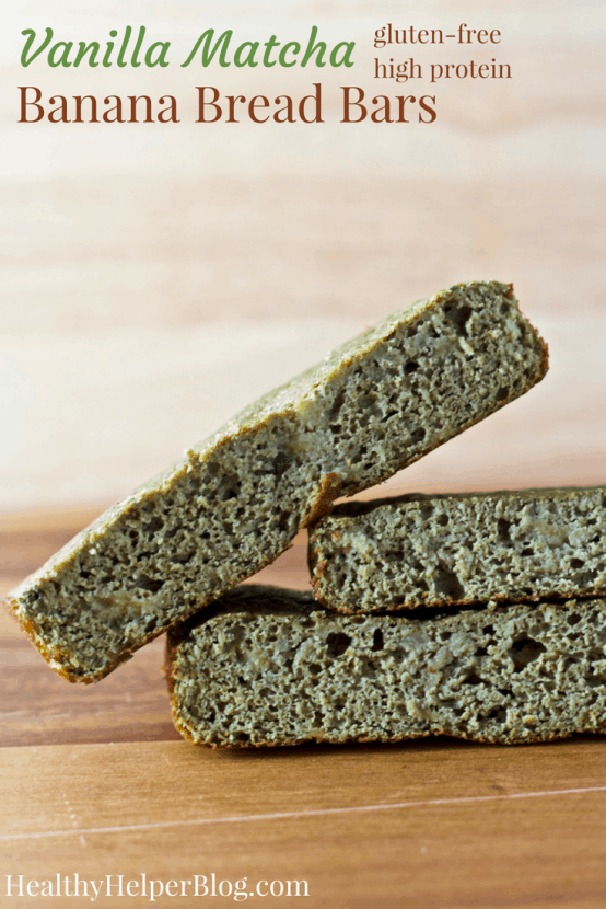 Vanilla Matcha Banana Bread Bars | Healthy Helper @Healthy_Helper Soft baked snack bars with the sweet taste of banana, fragrant vanilla, and earthy matcha! High protein, gluten-free, and perfect for when you're craving banana bread without all the calories and fat. No added sugar either!