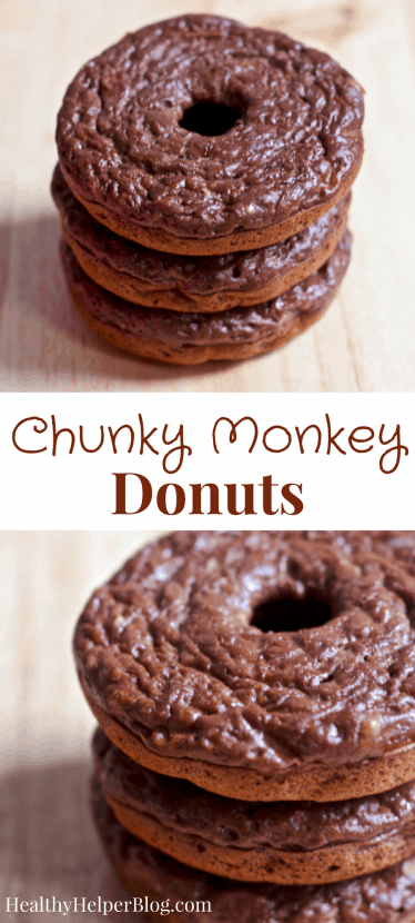 Chunky Monkey Donuts | Healthy Helper @Healthy_Helper Chocolate, peanut butter, and banana deliciousness all in one amazing homemade donut recipe! By combining a few simple, real food ingredients you get a batch of soft n' fluffy donuts that are sweet and perfectly healthy for snacking on whenever a donut craving strikes. Gluten-free and high protein!