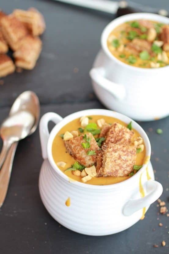Thai Peanut Soup with Grilled Peanut Butter Croutons | Healthy Helper @Healthy_Helper