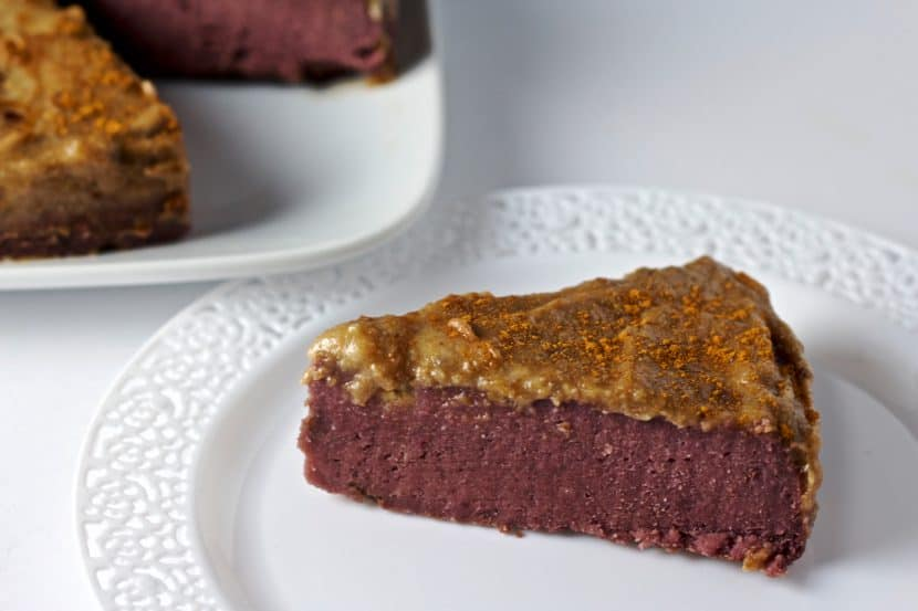 Vegan Purple Sweet Potato Fudge Cake with Caramel Date Frosting | Healthy Helper @Healthy_Helper A decadently dense, sweet cake made with the prettiest purple potatoes! Vegan, gluten-free, and completely Medjool date-sweetened. Have your cake and eat it too!