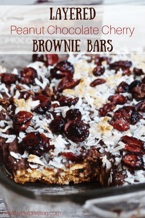 Layered Peanut Chocolate Cherry Brownie Bars | Healthy Helper @Healthy_Helper Deliciously decadent layered brownie bars with rich chocolate, tart cherries, and creamy peanut flavor throughout! Gluten-free, vegan, and only 5 ingredients. These bars are super easy to make and perfect for sharing with friends!