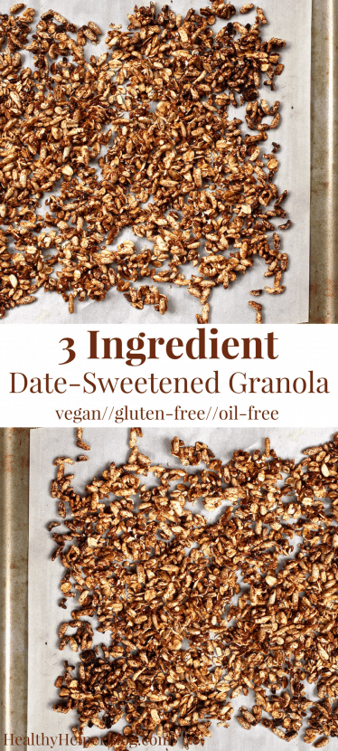 3 Ingredient Date Sweetened Granola | Healthy Helper @Healthy_Helper The basic, everyday granola recipe you need in your cooking arsenal! Only 3 ingredients, vegan, and gluten-free, this easy recipe is perfect for adding your favorite mix-ins to. Crispy, crunchy, and only sweetened with dates!