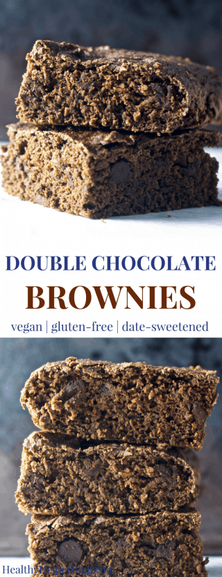 Double Chocolate Brownies | Healthy Helper @Healthy_Helper Deliciously fudgy, vegan brownies for your next family get-together or picnic! These Double Chocolate Brownies are so rich and chocolatey that you'd never guess they were HEALTHY! Gluten-free, Medjool date-sweetened, and SO drool-worthy.