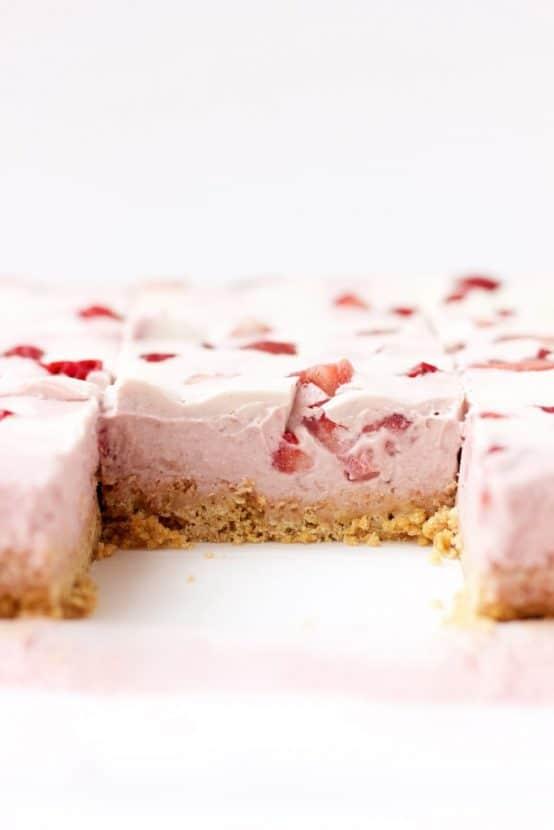 Vegan Strawberries and Cream Cheesecake Bars   Healthy Helper @Healthy_Helper