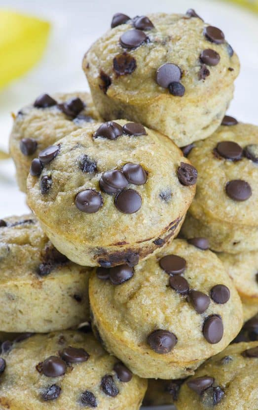 Skinny Chocolate Chip Banana Muffins   Healthy Helper @Healthy_Helper