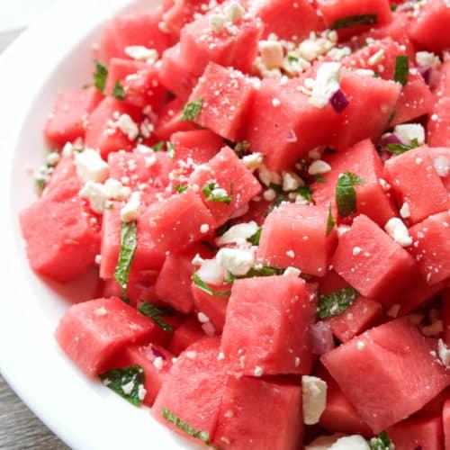 Watermelon Feta Mint Salad   Healthy Helper @Healthy_Helper