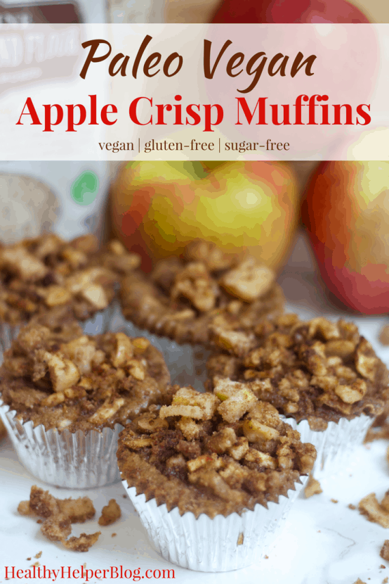 Paleo Apple Crisp Muffins | Healthy Helper @Healthy_Helper Your favorite fall dessert in muffin form! These Paleo Apple Crisp Muffins are the perfect snack for celebrating apple season with. Sweet, subtly spiced, and covered with that classic crumb topping you've come to know and love! Vegan, gluten-free, grain-free, and sure to please the whole family!