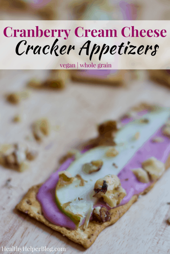 Cranberry Cream Cheese Crackers | Healthy Helper @Healthy_Helper Creamy, crunchy, and sweet...these vegan appetizers have it all! My Cranberry Cream Cheese Crackers are the perfect snack to bring to your next holiday party or family get-together. Easy to assemble and just as easy to eat!