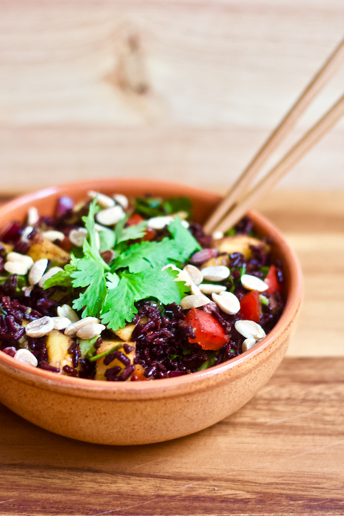 Forbidden Black Rice and Mango Salad   You'll experience a taste and flavor explosion upon first bite of this incredibleForbidden Black Rice Mango Salad. Sweet, savory, crunchy, and chewy...this vegan and gluten-free side dish has everything you crave. Filling, nutrient dense, and so tasty!