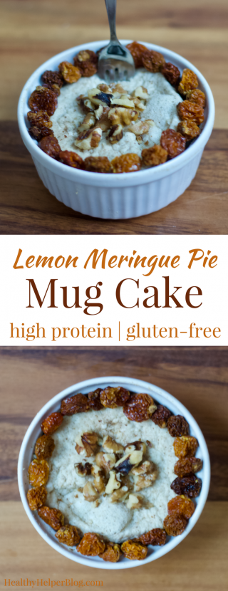 Lemon Meringue Pie Mug Cake   Healthy Helper @Healthy_Helper Sweet, zesty, and citrusy...this Lemon Meringue Pie Mug Cake will be your new favorite protein packed snack to refuel after a workout or keep your energy levels stable all day! Gluten-free, low-cal, low-fat, and so easy to make. In less than 2 minutes, you'll be in snack heaven with a healthy treat that tastes like dessert!