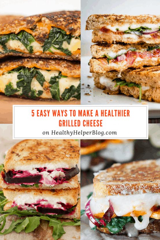 5 Easy Ways to Make a Healthier Grilled Cheese | Healthy Helper @Healthy_Helper A roundup of my go-to food tips to take a classic grilled cheese sandwich to the next level! Healthy food hacks that are simple and delicious.