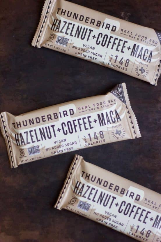 Copycat Hazelnut Coffee Maca Thunderbird Bars   Healthy Helper @Healthy_Helper Aromatic coffee combines with rich chocolate, hazelnuts, and superfood maca for the ultimate energy bar! Raw, vegan, gluten-free, and no added sugar, these copycat bars taste just like your favorite Thunderbird bar.