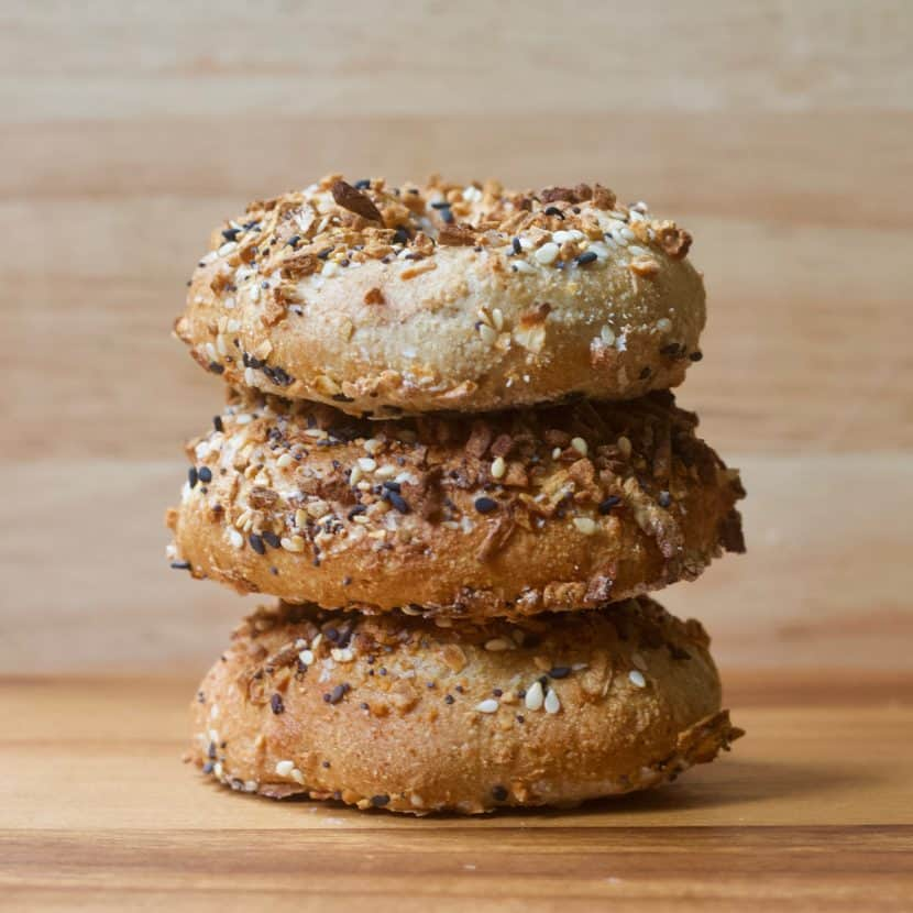 Vegan Everything Air Fryer Bagels | Healthy Helper Your favorite salty n' savory Everything bagels gone vegan and gluten-free! Made in the Air Fryer, these healthy, whole grain bagels are high low-fat, high-protein, oil-free, and require no boiling/baking. Easy to make and SO delicious with your favorite vegan cream cheese spread.