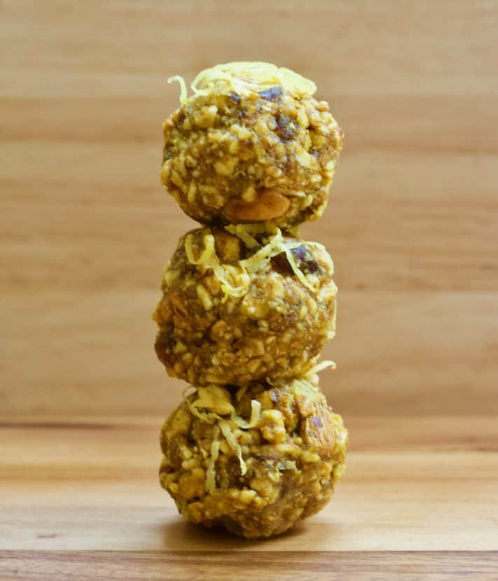 Lemon Ginger Turmeric Energy Bites   Healthy Helper Sweetly spiced raw energy bites with the fresh flavor of lemon and the inflammation fighting power of turmeric. Vegan, gluten-free, and so easy to make, these bites will be your new favorite way to fuel your day.