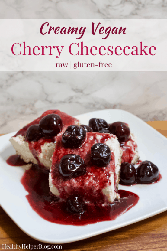 Creamy Vegan Cherry Cheesecake   Healthy Helper This creamy raw plant-based cheesecake with a delicious cherry walnut crust will be your new favorite HEALTHY dessert! Low in sugar, gluten-free, and easy to make, my Creamy Vegan Cherry Cheesecake is a delicious alternative to traditional cheesecake with a fruity twist that can't be beat.