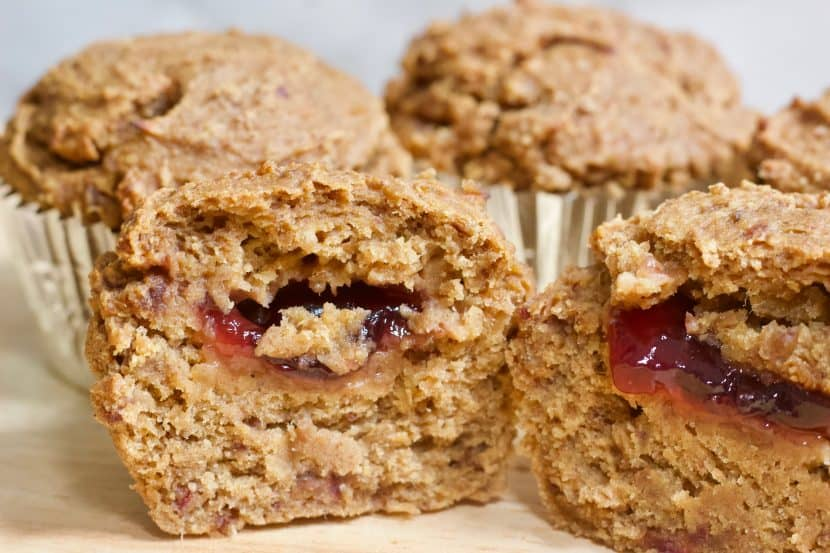 Low-Fat Vegan Peanut Butter and Jelly Muffins | Healthy Helper Your favorite combination of peanut butter and jelly in delicious muffin form! High carb, low-fat, vegan, and gluten-free these PB&J muffins will your new favorite heathy breakfast or snack to take on the go. + 10 other PEANUT BUTTER recipes for National Peanut Butter Lover's Month!