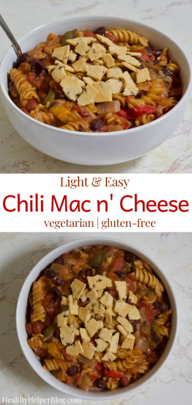 Light and East Chili Mac n' Cheese | Lightened up comfort food at its finest! This Chili Mac n' Cheese is vegetarian, gluten-free, and lower in fat & calories than a traditional version. Easy to make and a total crowdpleaser, your whole family will love this hearty, healthy meal.