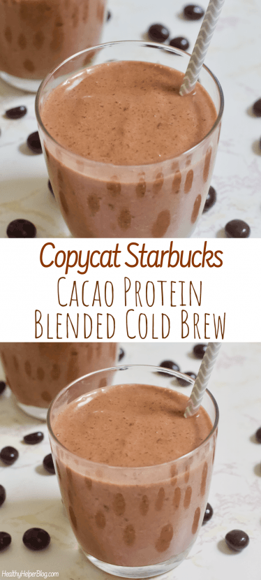 Copycat Starbucks Cacao Protein Blended Cold Brew   A homemade version of Starbucks' Cacao Protein Blended Cold Brew. Vegan, gluten-free, and no added sugar with the most creamy, delicious texture. A healthy, energizing frozen beverage!