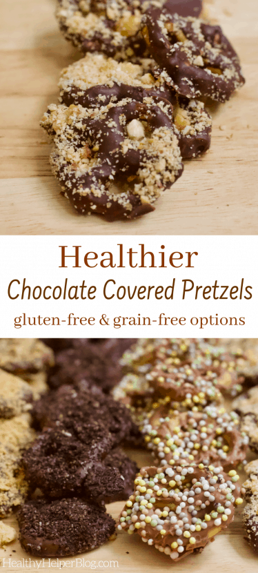 Healthier Chocolate Pretzels - 4 Ways | Four amazing recipes for (almost) vegan chocolate covered pretzels to delight your taste buds and satisfy your sweet n' salty cravings the healthy way! Gluten-free and grain-free options as well.