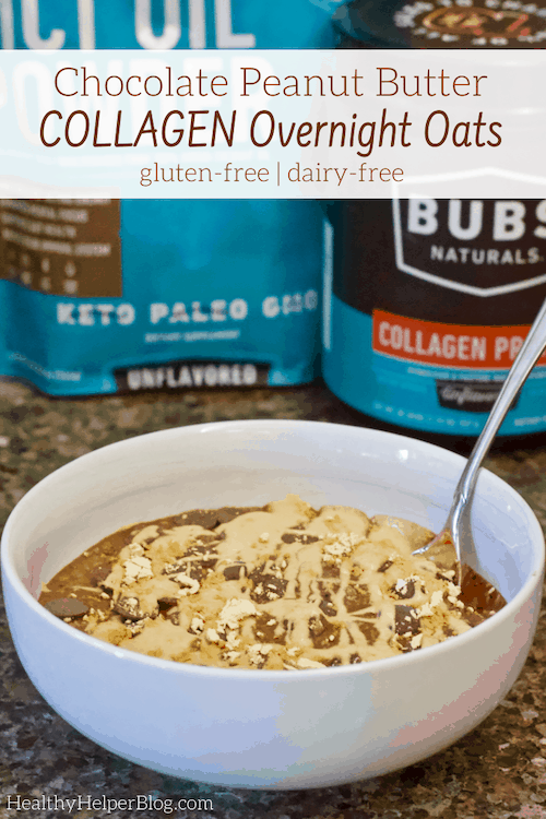 Chocolate Peanut Butter Collagen Overnight Oats | A chocolate peanut butter delight for breakfast! These Chocolate Peanut Butter Overnight Oats are gluten-free, dairy-free, sugar-free, and full of protein to keep you satisfied until lunchtime.